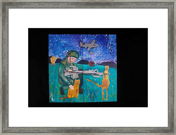Soldier And Two Cats Framed Print