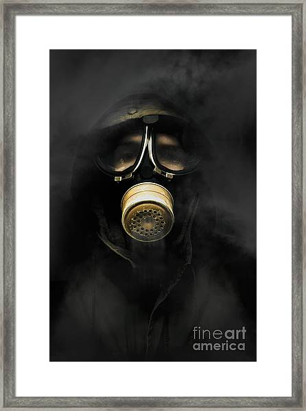 Soldier In Gas Mask Framed Print
