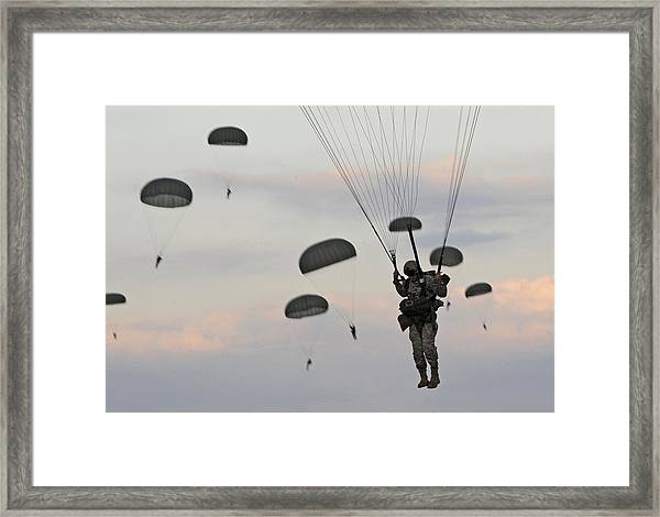 Soldiers Of The 82nd Airborne Descend Framed Print