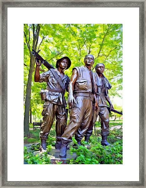 Soldiers Statue At The Vietnam Wall Framed Print