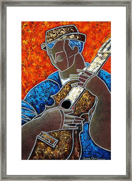 Framed Print featuring the painting Solo De Cuatro by Oscar Ortiz