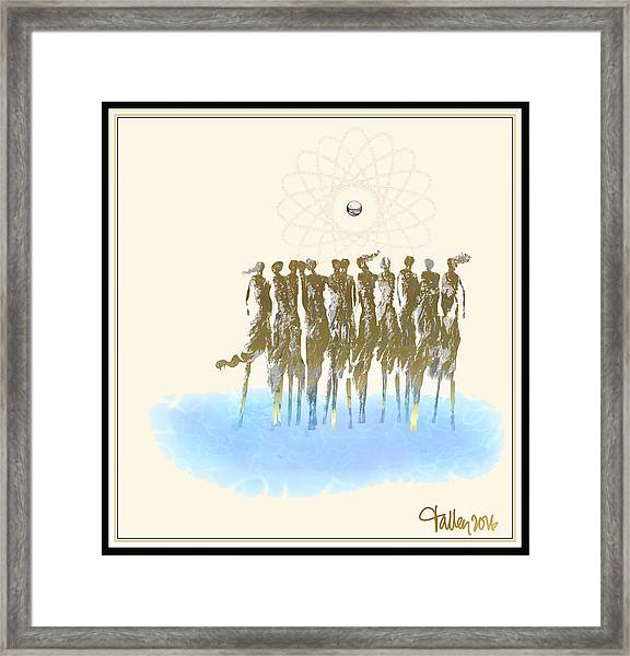 Framed Print featuring the digital art Women Chanting - Song Of The Sirens by Larry Talley