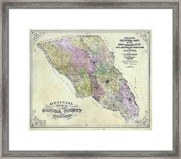 Sonoma County Map 1900 Framed Print