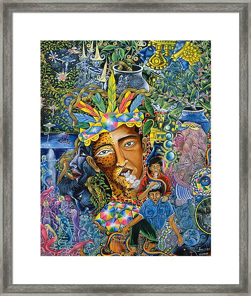 Framed Print featuring the painting Soplo De Banco Puma by Pablo Amaringo