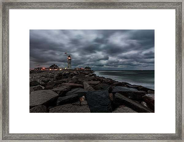 Stormy Clouds Over Old Scituate Lighthouse In The Early Morning Framed Print