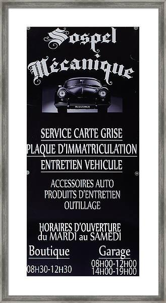Sospel Mechanic Framed Print