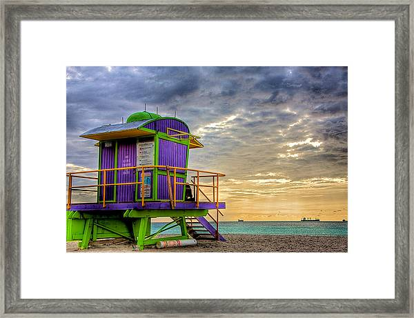 South Beach Dawn Framed Print by William Wetmore