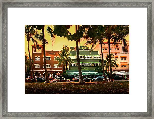 South Beach Ocean Drive Framed Print