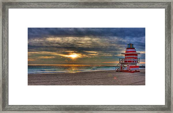 South Beach Sunrise Framed Print by William Wetmore