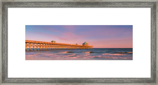 Framed Print featuring the photograph South Carolina Fishing Pier At Sunset Panorama by Ranjay Mitra