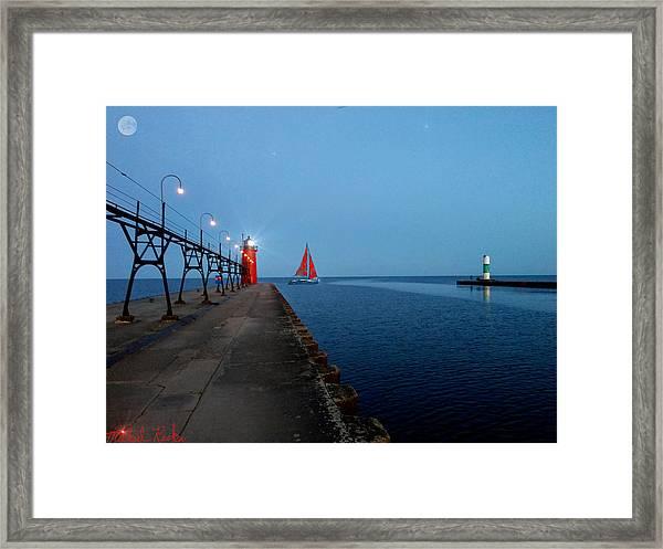 South Haven Lighthouse Pier Framed Print