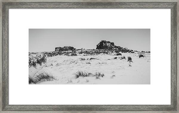 South Hessary Tor In The Snow Framed Print
