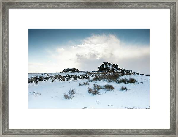 South Hessary Tor In The Snow II Framed Print