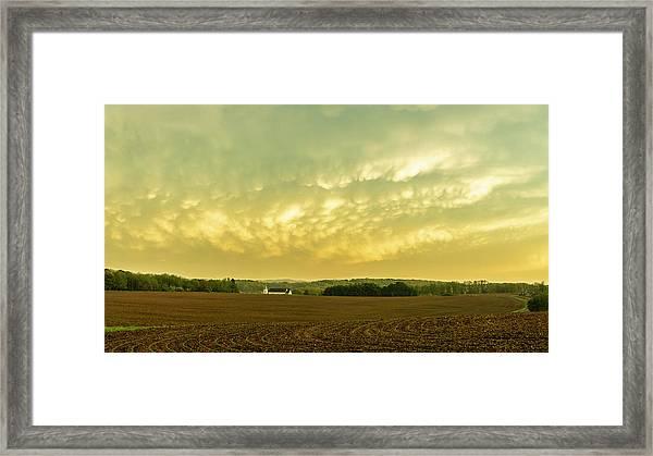 Thunder Storm Over A Pennsylvania Farm Framed Print