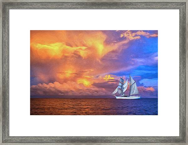 South Seas Sailing Framed Print