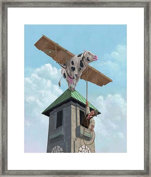 Southampton Cow Flight Framed Print