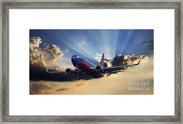 Southwest Dramatic Rays Of Light Framed Print