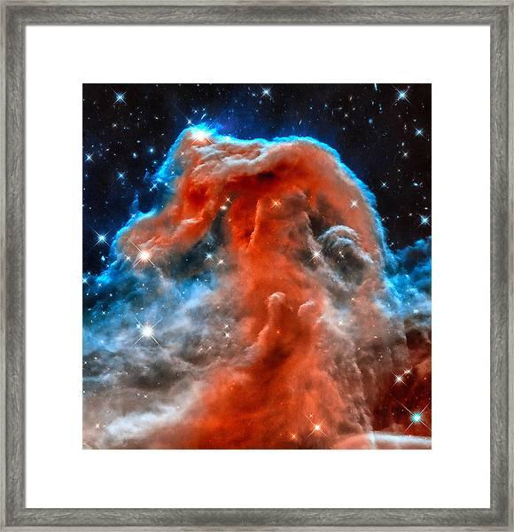 Space Image Horsehead Nebula Orange Red Blue Black Framed Print