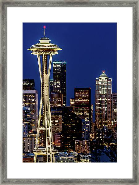 Space Needle And Skyline At Dusk Framed Print