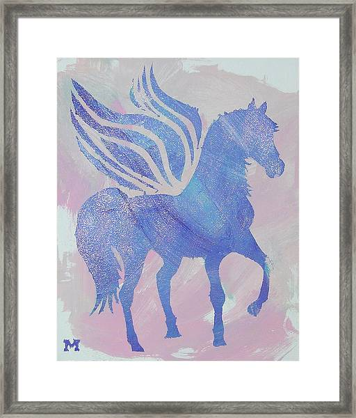 Framed Print featuring the painting Sparkle Pegasus by Candace Shrope