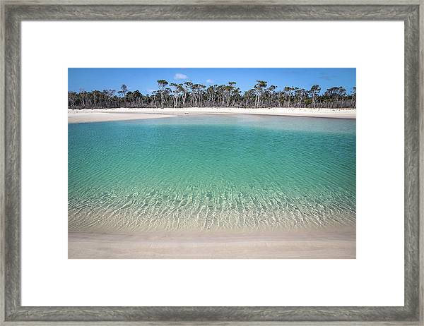 Sparkling Beach Lagoon On Deserted Beach Framed Print