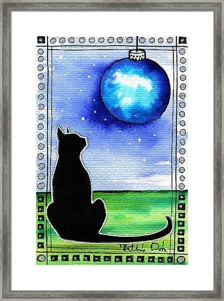 Sparkling Blue Bauble - Christmas Cat Framed Print