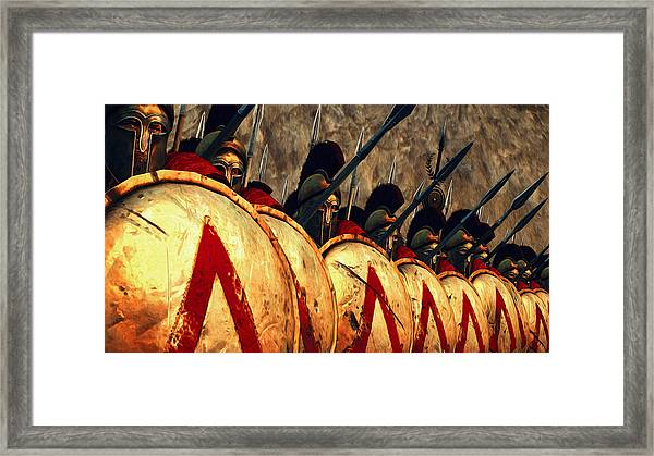 Spartan Army - Wall Of Spears Framed Print