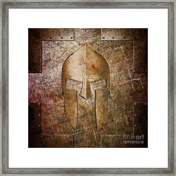 Spartan Helmet On Metal Sheet With Copper Hue Framed Print