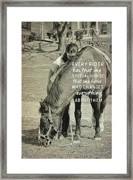 Special Bond Quote Framed Print
