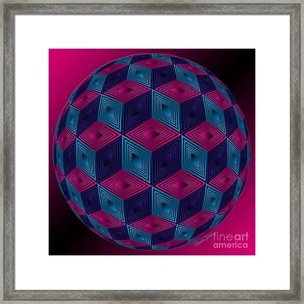 Spherized Pink Purple Blue And Black Hexa Framed Print