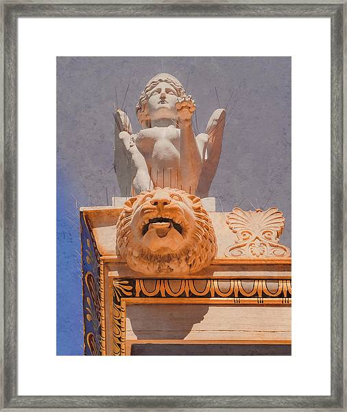 Framed Print featuring the photograph Athens, Greece - Sphinx And Scupper by Mark Forte