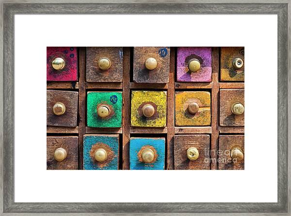 Spice Drawers Pattern Framed Print