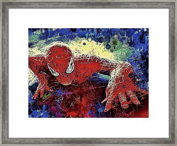 Spiderman Climbing  Framed Print