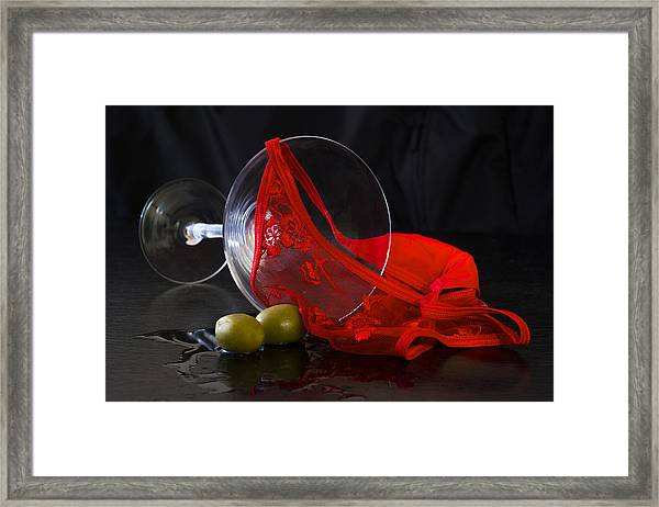 Spilled Martini With Red Panties Framed Print