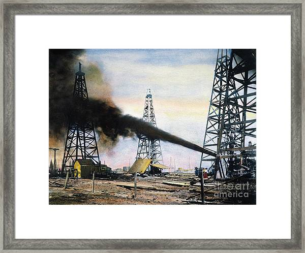 Spindletop Oil Pool, C1906 Framed Print