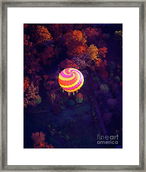 Spiral Colored Hot Air Balloon Over Fall Tree Tops Mchenry   Framed Print