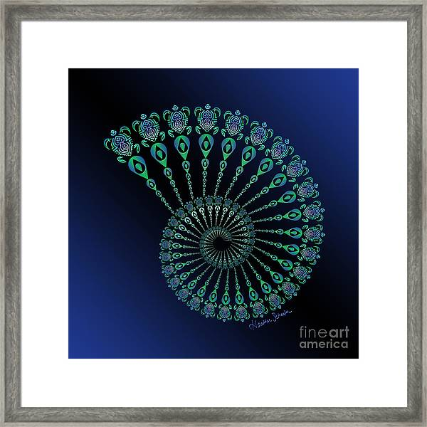 Tribal Turtle Spiral Shell Framed Print