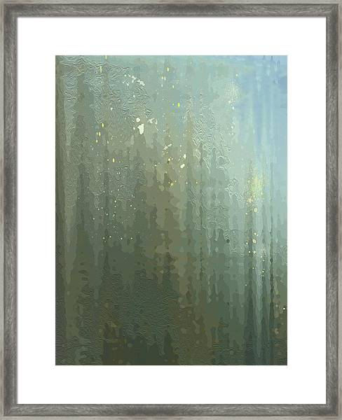 Framed Print featuring the digital art Spires Through A Window by Gina Harrison