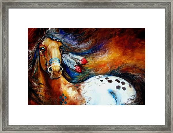 Spirit Indian Warrior Pony Framed Print