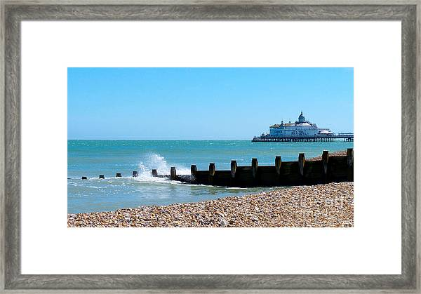 Splashing Waves By The Sea Framed Print