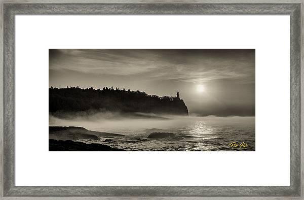 Split Rock Lighthouse Emerging Fog Framed Print