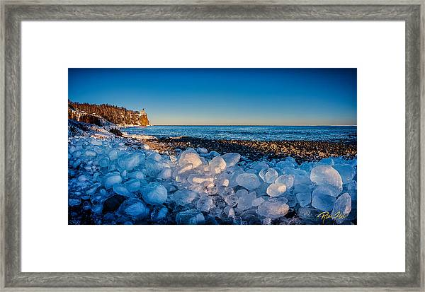 Split Rock Lighthouse With Ice Balls Framed Print