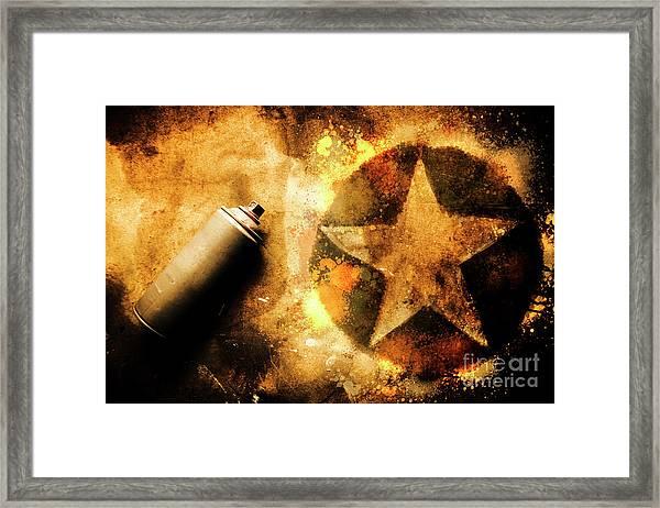 Spray Can With Army Star Graffiti Framed Print
