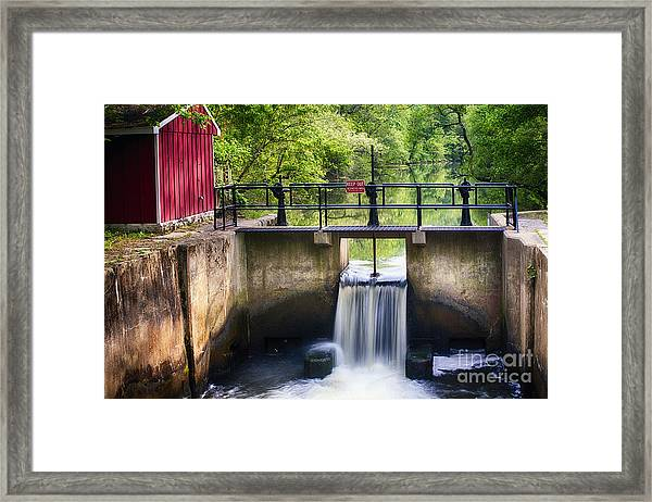 Spring Canal Lock Scene  Framed Print by George Oze