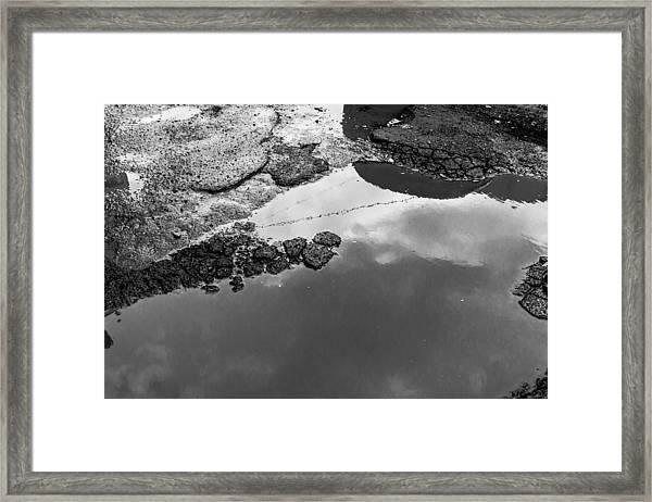 Spring Clouds Puddle Reflection Framed Print