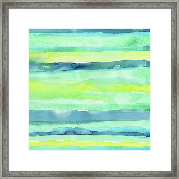 Spring Colors Pattern Horizontal Stripes Framed Print