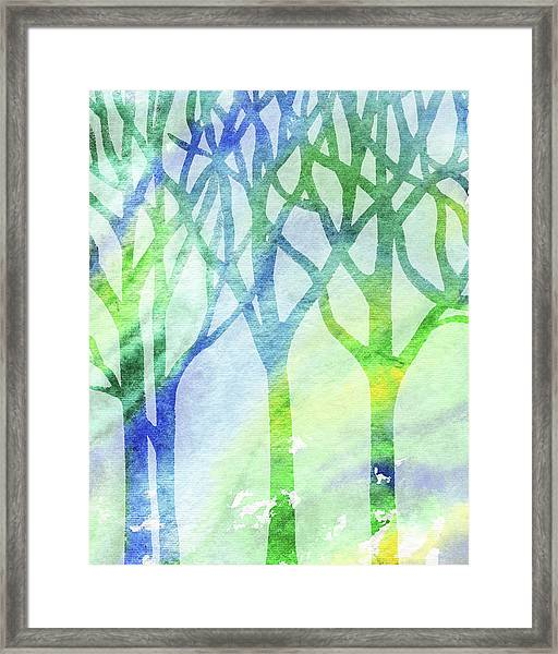 Spring Forest Watercolor Silhouette Framed Print