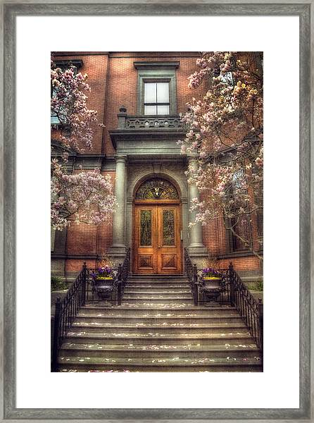 Spring In Boston - Boston Doorways Framed Print