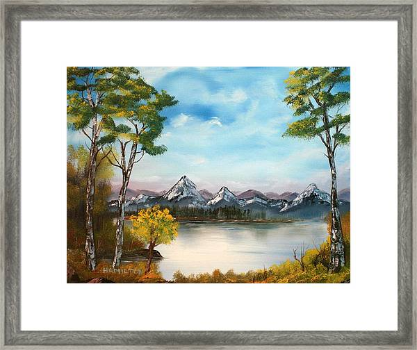 Spring Morning By The Lake Framed Print