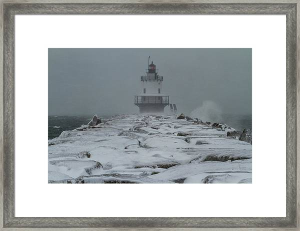 Spring Point Ledge Light Blizzard  Framed Print